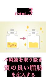 3.不純物を取り除き質の良い脂肪を注入する